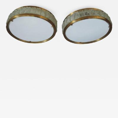 Jean Perzel Pair of Fine French 1970s Glass and Bronze Flush Mount by Perzel