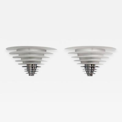 Jean Perzel Pair of Fine French Art Deco Chrome and Glass Discs by Jean Perzel