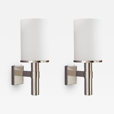 Jean Perzel Pair of Perzel Sconces with White Glass Shade 1950s