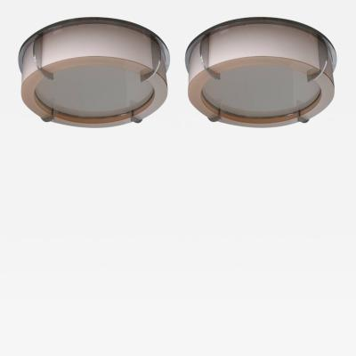Jean Perzel Pair of Rare Fine French Art Deco Pink and White Glass Flush Mounts by Perzel
