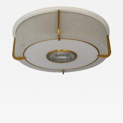 Jean Perzel Rare Fine French Art Deco Glass and Bronze Round Flush Mount by Jean Perzel