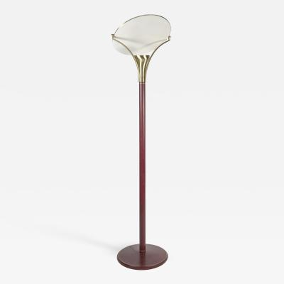 Jean Perzel Rare Floor lamp covered with Leather By Jean Perzel