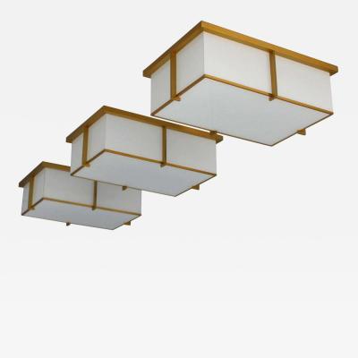 Jean Perzel Set of Three Rectangular Glass and Bronze Ceiling Lights by Jean Perzel