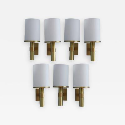 Jean Perzel Seven Fine French Art Deco Glass and Bronze Cylindrical Sconces by Perzel