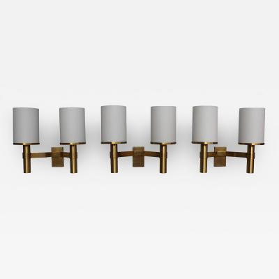 Jean Perzel Three Fine French Art Deco Bronze and Glass Sconces by Jean Perzel