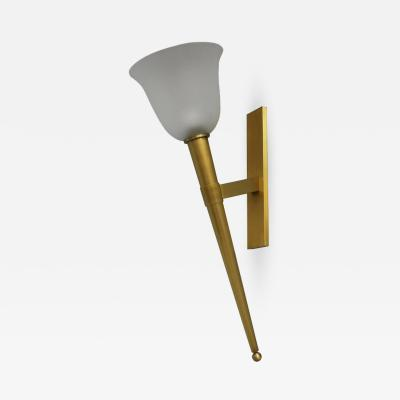Jean Perzel UNUSUALLY LARGE FINE FRENCH 1950S BRONZE AND GLASS TORCHERE SCONCE BY PERZEL