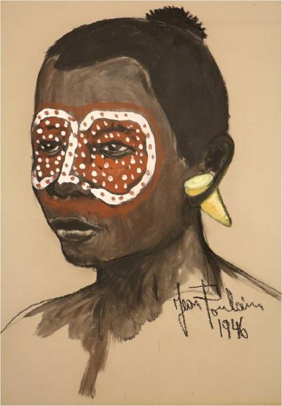 Jean Poulain An African portrait with red and black tribal makeup by Jean Poulain Art Deco