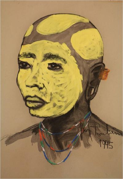 Jean Poulain An African portrait with yellow tribal makeup by Jean Poulain Art Deco 1945