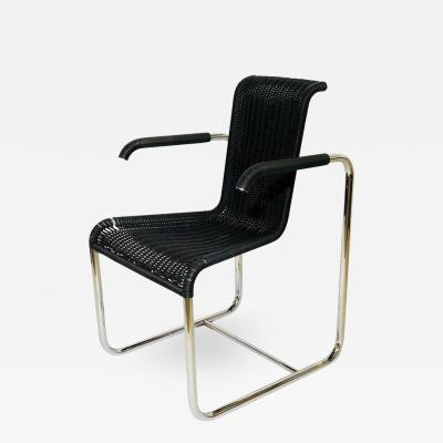 Jean Prouv Jean Prouv D20 Stainless Steel Leather Wicker Chairs for Tecta Germany 1980s
