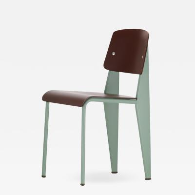 Jean Prouv Jean Prouv Standard Chair SP in Teak Brown and Mint for Vitra