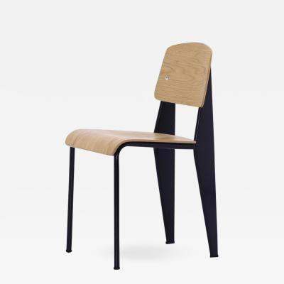 Jean Prouv Jean Prouv Standard Chair in Natural Oak and Black Metal for Vitra