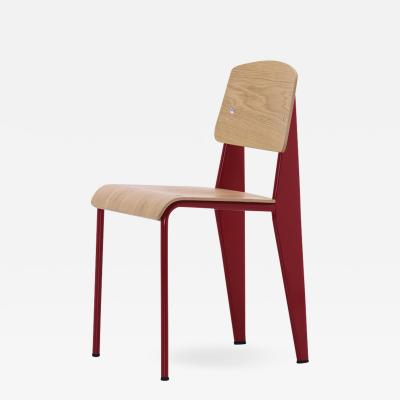 Jean Prouv Jean Prouv Standard Chair in Natural Oak and Red Metal for Vitra