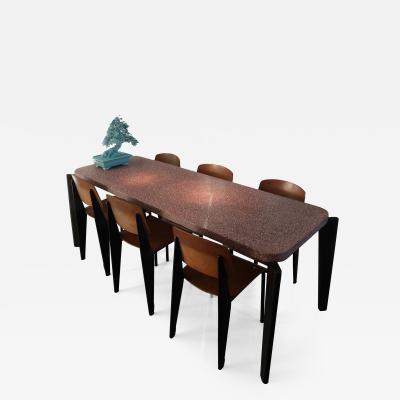 Jean Prouv Jean Prouve dining suite Granito table with six Metropole chairs 1950s