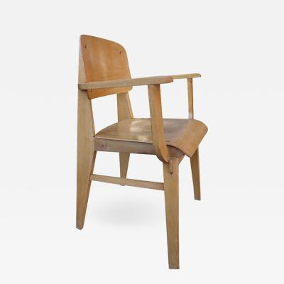 Jean Prouv Mid Century Jean Prouv All Wood Standard Armchair