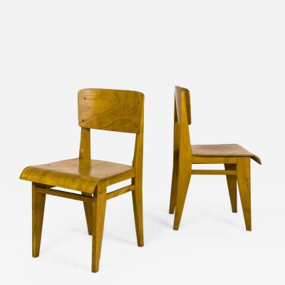 Jean Prouv Pair of Jean Prouv Chaise En Bois Chairs circa 1940 France