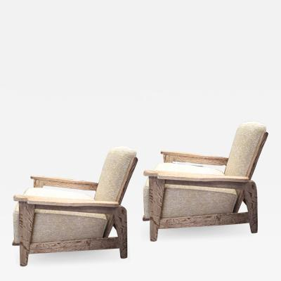 Jean Prouv Style of Prouve cerused oak lounge chairs with reclining back