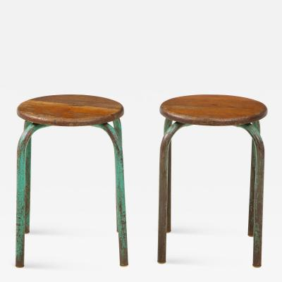 Jean Prouv Vintage Mid Century French Industrial Stools in the manner of Jean Prouve