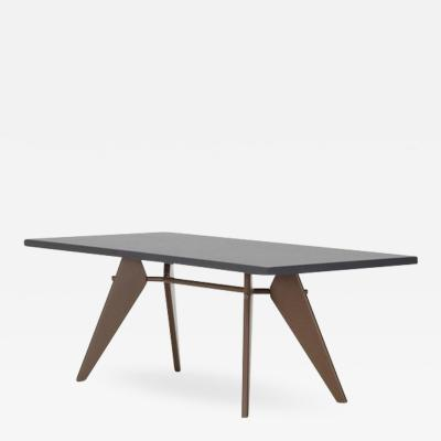 Jean Prouv Vitra EM Table in Asphalt HPL and Coffee by Jean Prouv