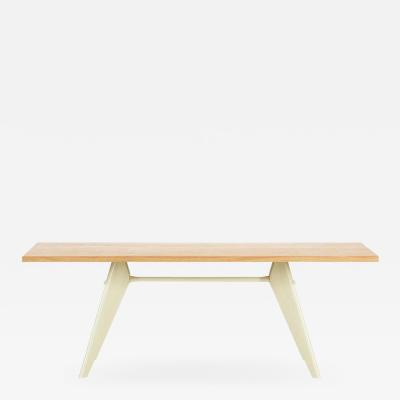 Jean Prouv Vitra EM Table in Solid Natural Oak and Ecru by Jean Prouv