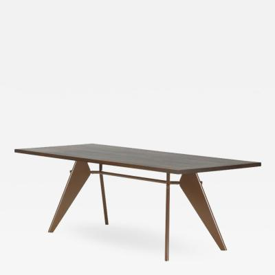 Jean Prouv Vitra EM Table in Solid Smoked Oak and Coffee by Jean Prouv