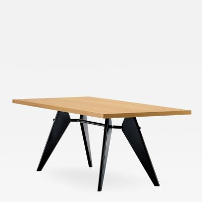 Jean Prouv Vitra Em Table in Solid Natural Oak and Deep Black by Jean Prouv