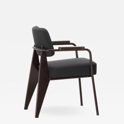 Jean Prouv Vitra Fauteuil Direction in Dark Gray and Chocolate by Jean Prouv