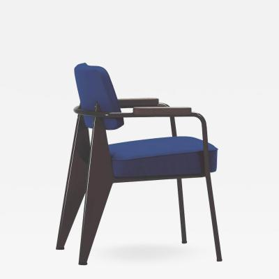 Jean Prouv Vitra Fauteuil Direction in Ink Blue and Chocolate by Jean Prouv
