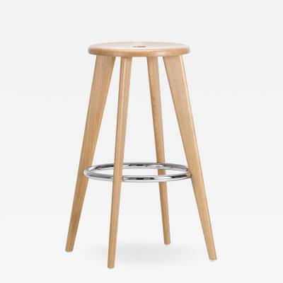 Jean Prouv Vitra Tabouret Haut Bar Stool in Natural Oak by Jean Prouv