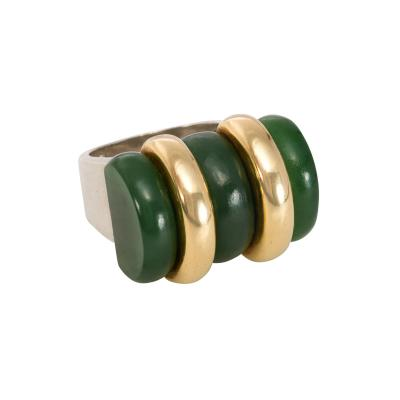 Jean Puiforcat Puiforcat Art Deco Nephrite Jade and Gold Ring with Sterling Silver Shank
