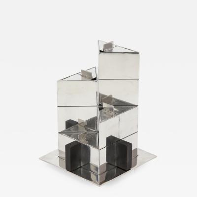 Jean Puiforcat Puiforcat Nickel Plated and Wood Geometric Tea Set