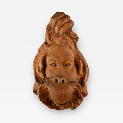 Jean Ren Gauguin Large and impressive face of orangutan in Chamotte clay