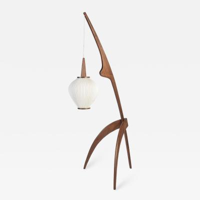 Jean Rispal Praying Mantis Floor Lamp in Walnut France designed circa 1950