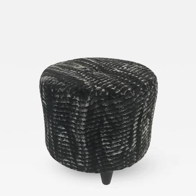 Jean Roy re Fantastic Stool in the style of Jean Roy re in a Faux Chinchilla Print Fur