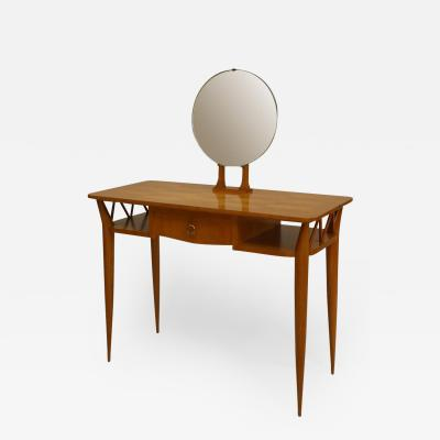 Jean Roy re French 1940s Pecan Wood Dressing Table with a Parquetry Top and Mirror
