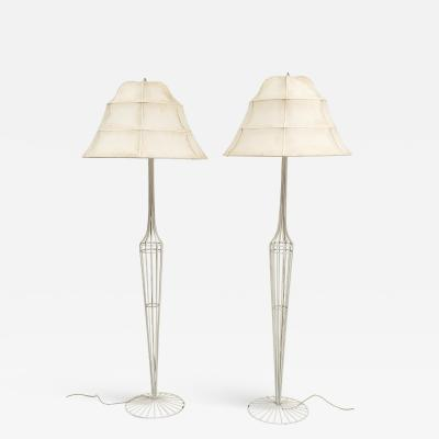 Jean Roy re French Metal Floor Lamp Duo in the style of Jean Roy re