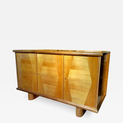 Jean Roy re Jean Roy re Ashtree Three Door Cabinet with Typical Trapeze Patterns Marquetry