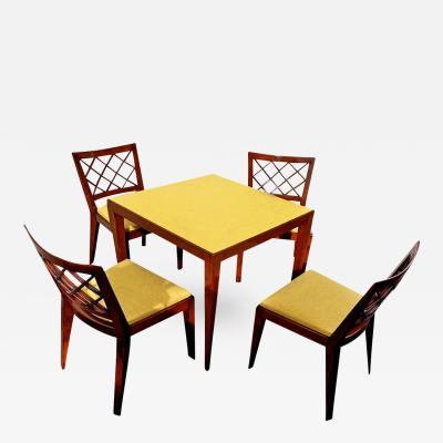 Jean Roy re Jean Roy re Documented Game Table Set and Chairs Model Croisillon