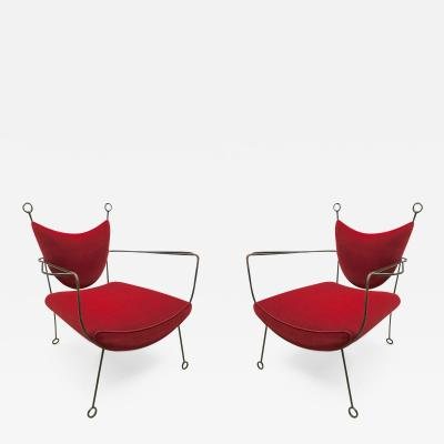 Jean Roy re Jean Roy re Documented Pair of Black Wrought Iron Lounge Chairs Model Yo Yo