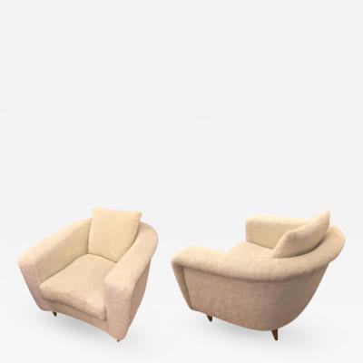 Jean Roy re Jean Roy re Pair of Armchairs with Tapered Metal Sabot Covered in Faux Fur