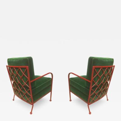 Jean Roy re Jean Roy re Pair of Croisillon Armchairs in Red Lacquered Wrought Iron
