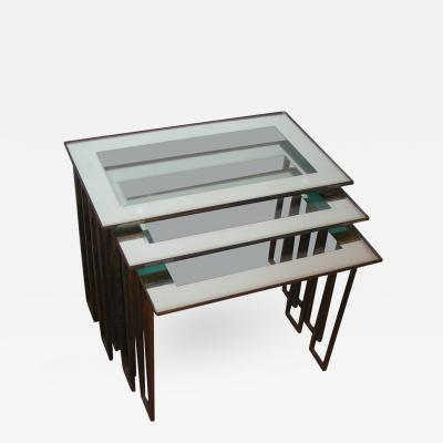 Jean Roy re Jean Roy re Three 1950s Nesting Tables with Base in Gilt Wrought Iron