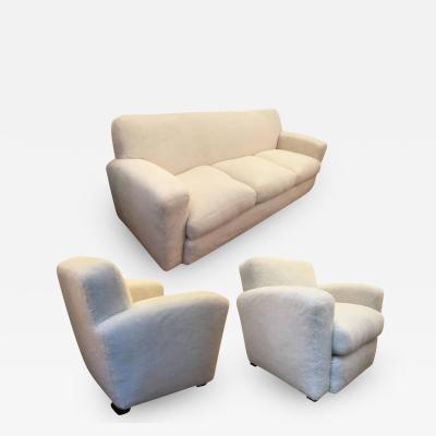 Jean Roy re Jean Roy re for Maison Gouff Stamped One Couch and Two Club Chairs in Faux Fur