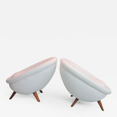 Jean Roy re Jean Royere Documented Pair of Big Model oeuf Chairs in Wool Faux Fur