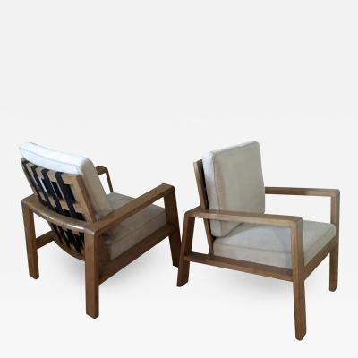 Jean Roy re Jean Royere Documented Pair of Oak Lounge Chairs Covered in Beige Mohair Velvet