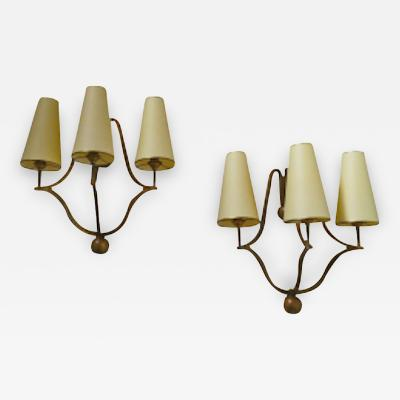 Jean Roy re Jean Royere Genuine Documented Pair of Gold Leaf Sconces Model Jacques