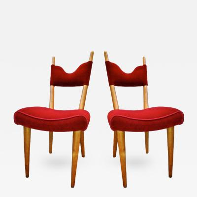 Jean Roy re Jean Royere Pair of Documented Chairs Covered in Red Velvet