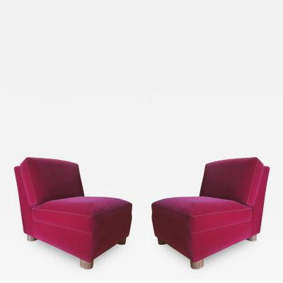 Jean Roy re Jean Royere Pair of Slipper Chairs Covered in Red Mohair Velvet