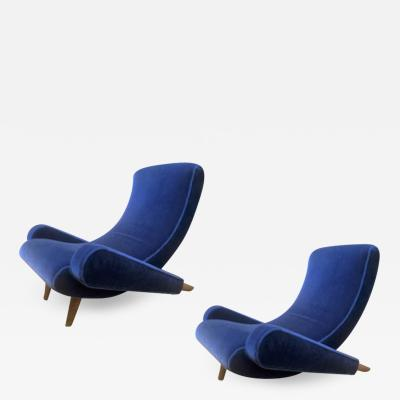 Jean Roy re Jean Royere Stunning Documented Pair of Lounge Chairs model Varsano