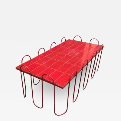 Jean Roy re Jean Royere documented genuine red lacquered ondulation coffee table