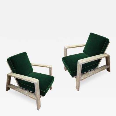 Jean Roy re Jean Royere documented pair of cerused oak lounge chairs